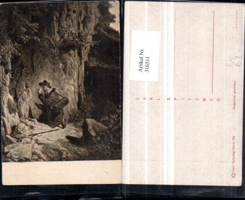 316511,Künstler AK Carl Spitzweg Mann m. Hut Tasche Felswand