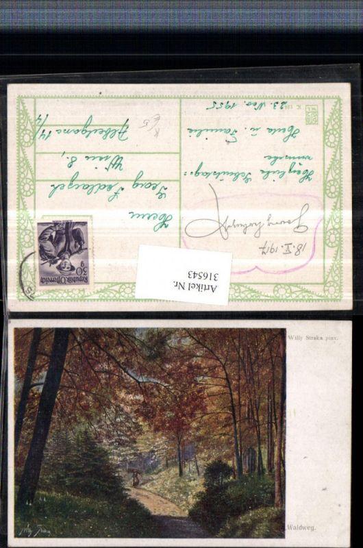 316543,Künstler AK Willy Straka Waldweg Wegpartie Wald