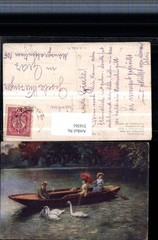 316561,Künstler AK A. Gareis Kahnfahrt am See Kahn Frau m. Schirm Schwäne