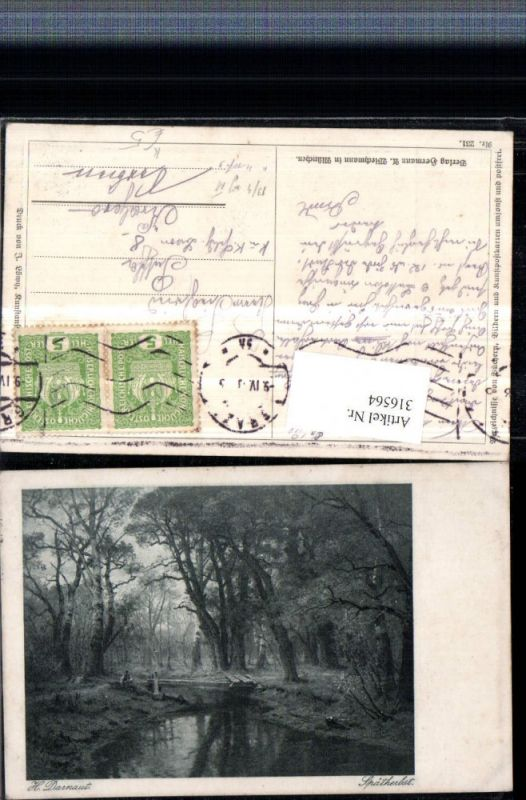 316564,Künstler AK H. Darnaut Spätherbst Landschaft Wald Brücke