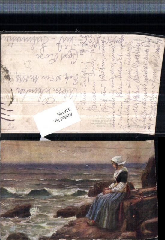 316586,Künstler AK C. Muttich Hoffnungswellen Frau Holländische Tracht Küste Wellen