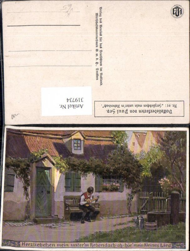319734,Künstler Ak Paul Hey Volksliederkarte 95 Herzliebchen mein unter d. Rebendach VDA