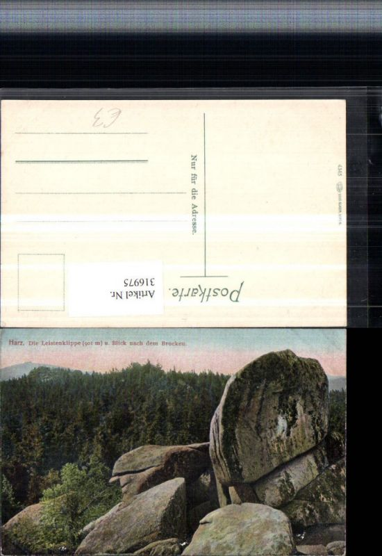 316975,Harz Leistenklippe u. Blick nach dem Brocken b. Wernigerode