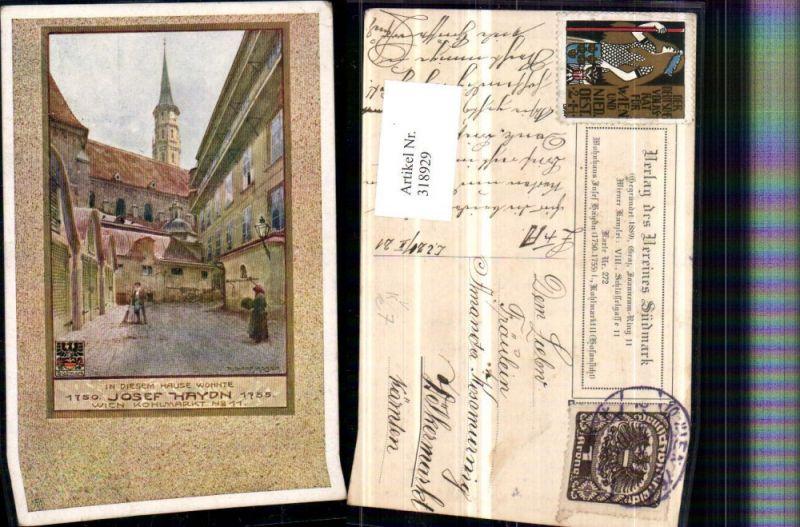 318929,Verein Südmark 272 Künstler Richard Moser Wien Kohlmarkt Josef Haydn Wohnhaus