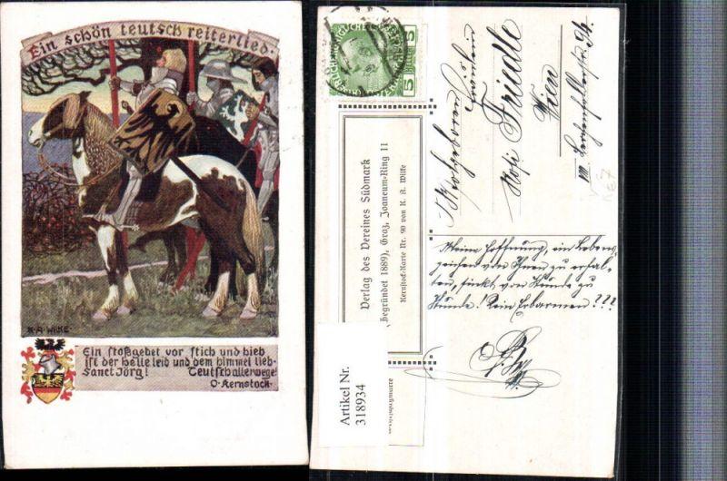 318934,Verein Südmark 90 Künstler K. A. Wilke Ein schön teusch Reiterlied Ritter Pferd Spruch