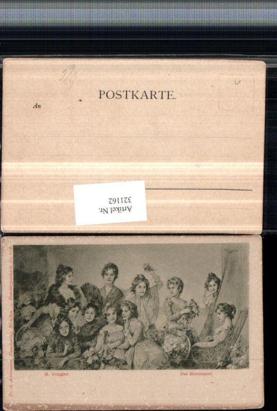 321162,F. A. Ackermann 909 Künstler H. Torggler Das Heiratsnest Frauen m. Kleider Blumen
