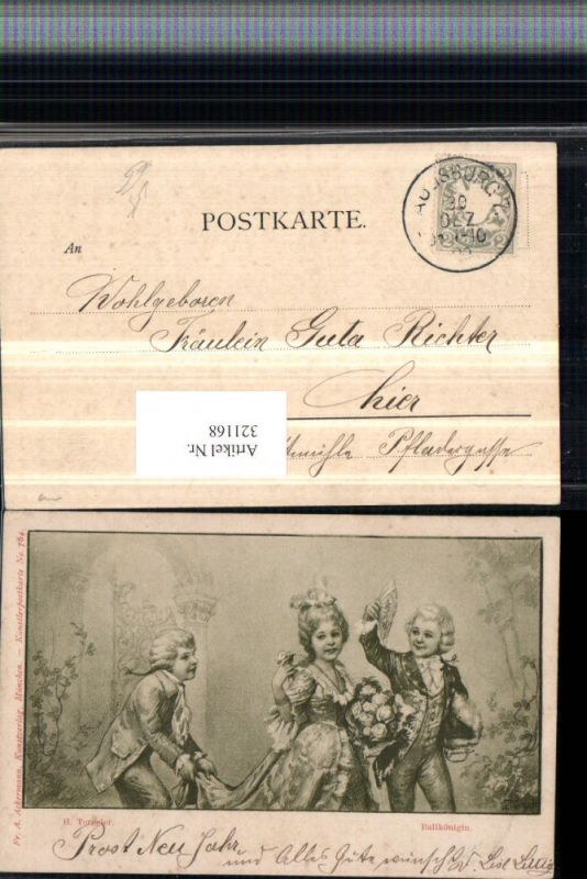 321168,F. A. Ackermann 764 Künstler H. Torggler Ballkönigin Kinder Blumen Fächer