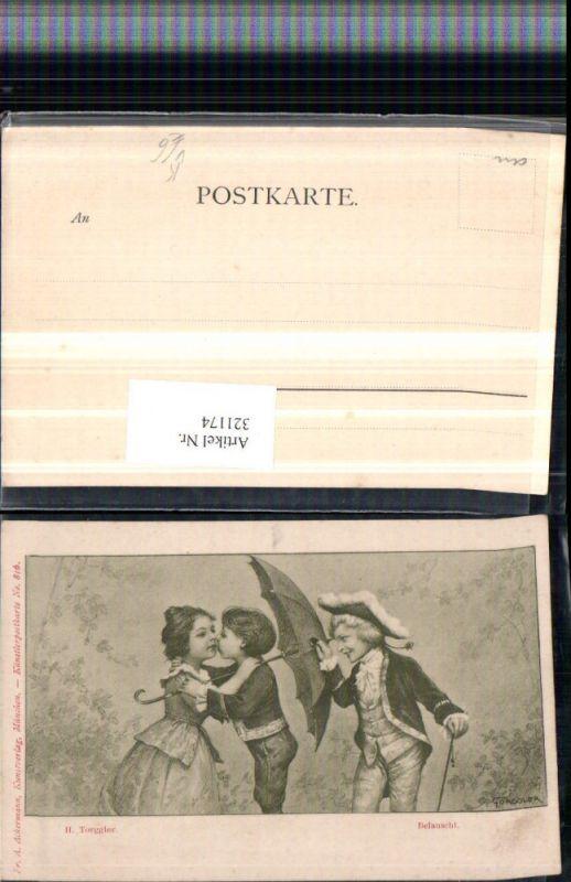321174,F. A. Ackermann 816 Künstler H. Torggler Belauscht Kinder Kuss Schirm