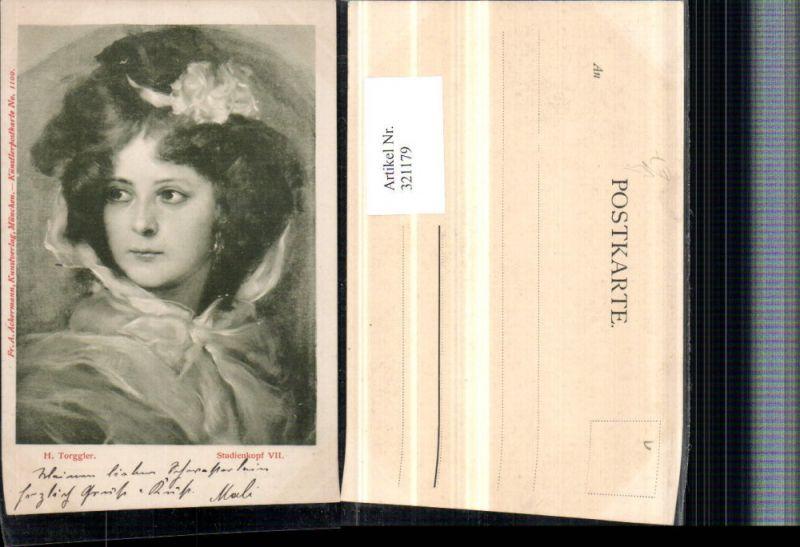 321179,F. A. Ackermann 1100 Künstler H. Torggler Studienkopf Frau Portrait