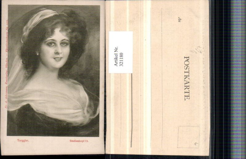 321180,F. A. Ackermann 1133 Künstler Torggler Studienkopf Frau Tuch Portrait