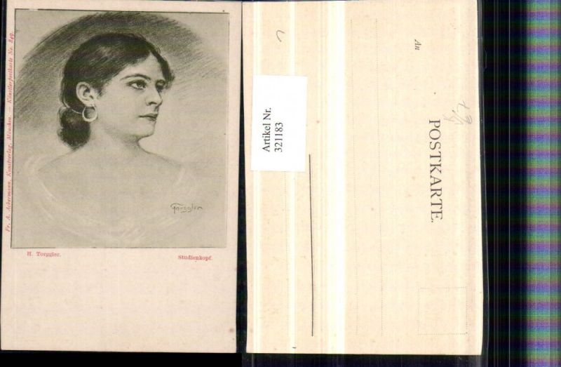 321183,F. A. Ackermann 849 Künstler H. Torggler Studienkopf Frau m. Ohrring Portrait
