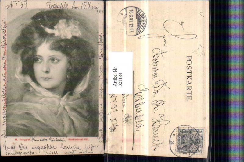 321184,F. A. Ackermann 1100 Künstler H. Torggler Studienkopf Frau Portrait