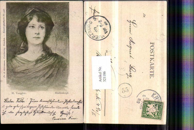 321186,F. A. Ackermann 548 Künstler H. Torggler Studienkopf Frau Portrait