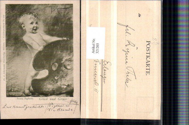 321203,F. A. Ackermann 579 Künstler Bruno Piglhein nacktes Kind Künstlerpalette