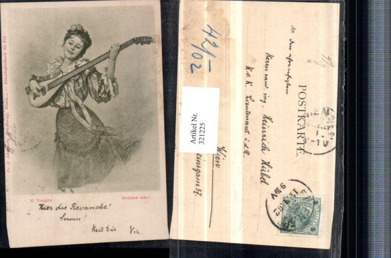 321225,F. A. Ackermann 812 Künstler H. Torggler Fröhlich sein Frau m. Kleid Laute