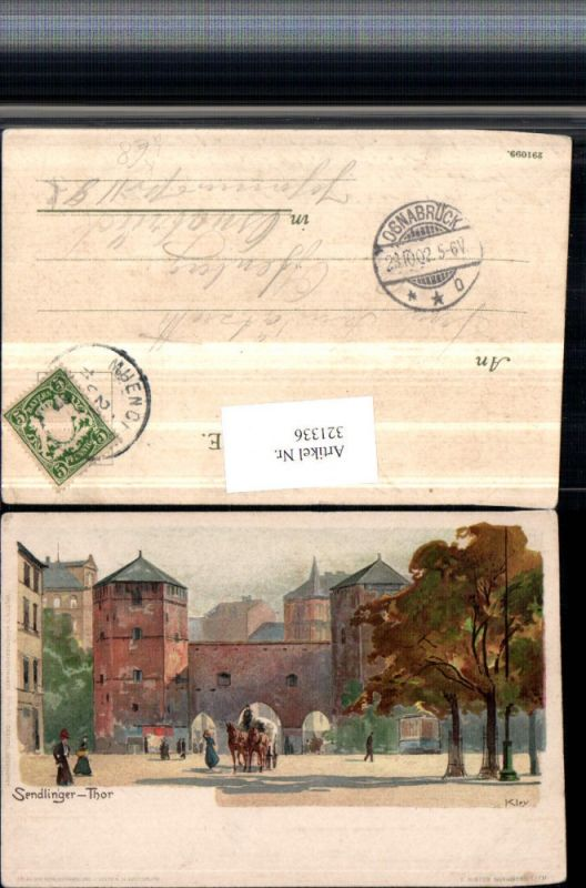 321336,Künstler Litho Heinrich Kley München Sendlinger Tor Straßenansicht Kutsche pub Velten 405