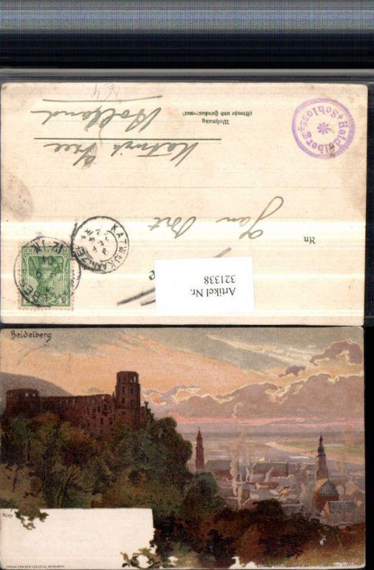 321338,Künstler Litho Heinrich Kley Heidelberg Totale m. Schloss pub Edm. v. König