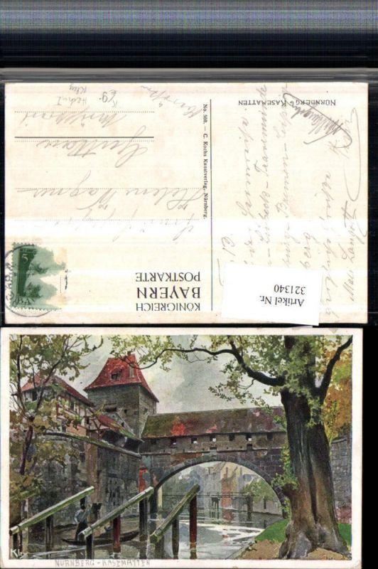 321340,Künstler Litho Heinrich Kley Nürnberg Kasematten Brücke