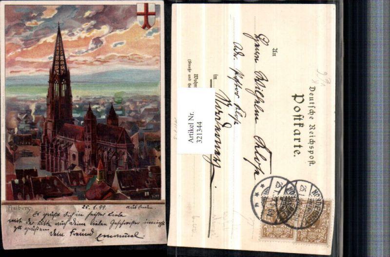 321344,Künstler Litho Heinrich Kley Freiburg im Breisgau Kirche pub J. Velten 35