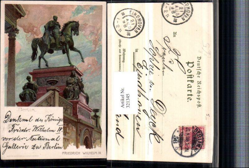 321345,Künstler Litho Heinrich Kley Berlin Denkmal Friedrich Wilhelm IV pub J. Velten 156