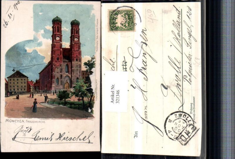 321346,Künstler Litho Heinrich Kley München Frauenkirche Kirche pub Karl Leykum 3