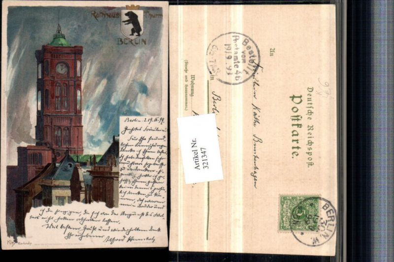 321347,Künstler Litho Heinrich Kley Berlin Rathaus Turm pub J. Velten 160