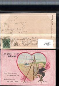321479,Raphael Tuck & Sons 7 Künstler E. Curlis Valentine Valentinstag Kind Staffelei Herz Spruch