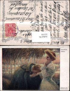 321576,Künstler AK Eduard Adr. Dussek Abschied Liebespaar Handkuss pub B.K.W.I. 1189