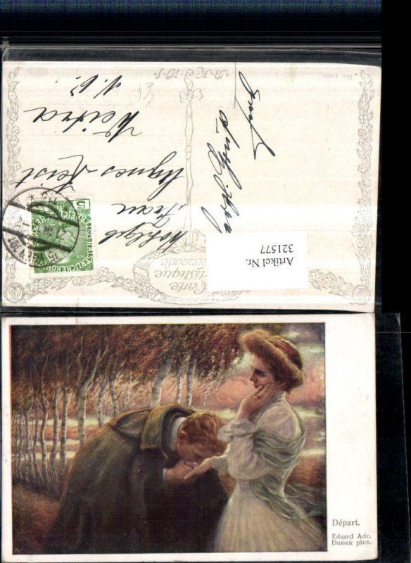 321577,Künstler AK Eduard Adr. Dussek Abschied Liebespaar Handkuss pub B.K.W.I. 1189