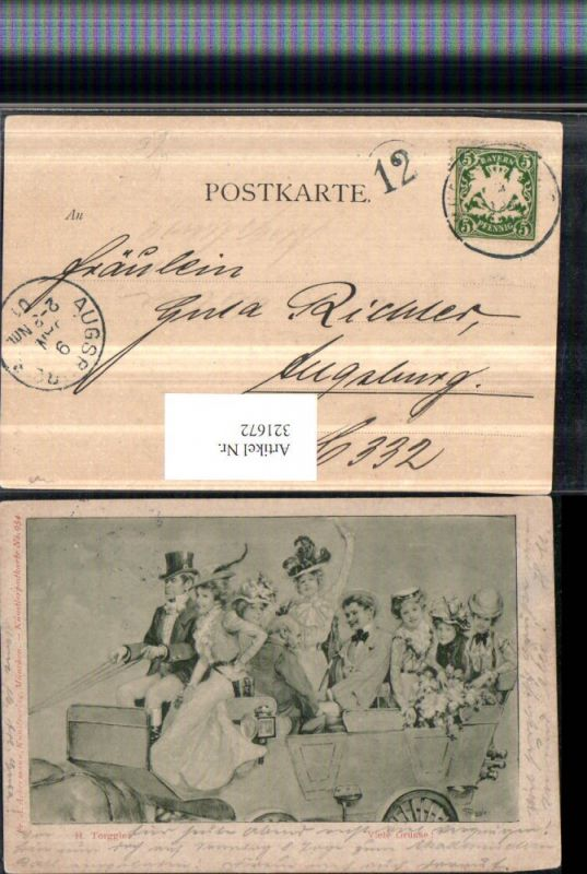 321672,Künstler AK H. Torggler Kutsche Personen Frauen m. Hüten pub A. Ackermann 954