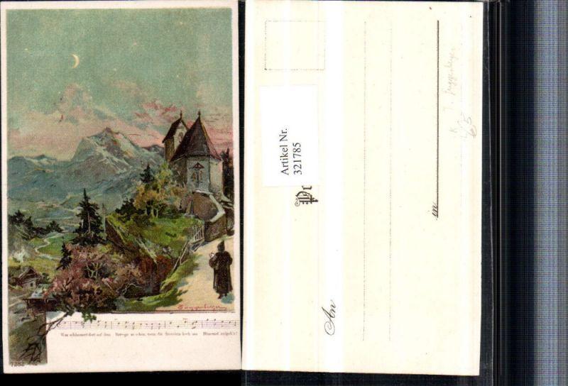 321785,Künstler Litho T. Guggenberger Kirche Bergkulisse Liedzeile