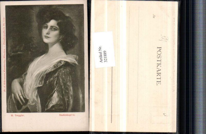321889,Künstler AK H. Torggler Studienkopf Frau m. Kette Portrait pub A. Ackermann 1134