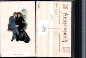 321901,Künstler AK Clarence F. Underwood Heart for a Diamond Liebespaar Frau m. Kleid