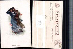 321903,Künstler AK Clarence F. Underwood Glories of March Paar Mantel Hüte
