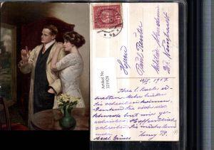 321928,Künstler AK Clarence F. Underwood Paar Mann m. Mantel Blumenvase