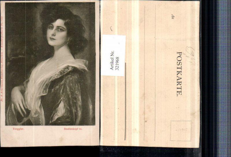 321968,Künstler AK Torggler Studienkopf Frau m. Kette Portrait pub A. Ackermann 1134