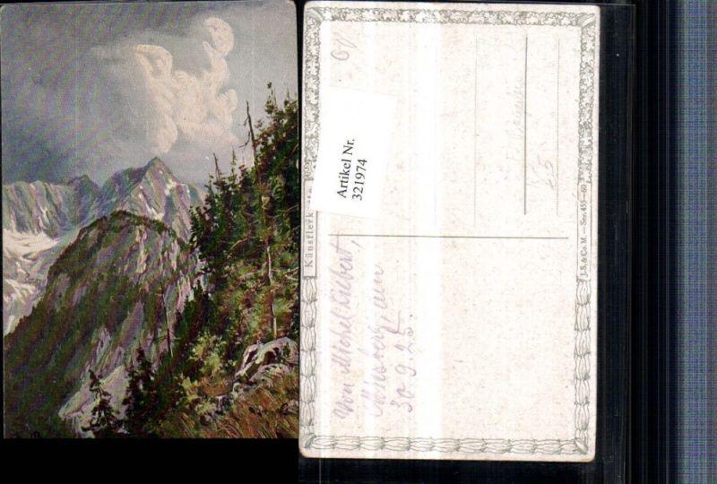 321974,Künstler AK F. Bayerlein Bergkulisse