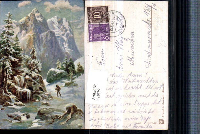 321975,Künstler AK F. Bayerlein Winterlandschaft Bergkulisse