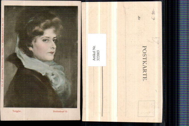 322003,Künstler AK Torggler Studienkopf Frau Portrait pub A. Ackermann 1132