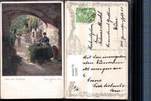 322007,Künstler AK Hans Götzinger Unter dem Torbogen pub B.K.W.I. 1110