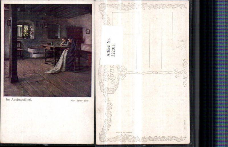 322011,Künstler AK Karl Zewy Im Austragstübel Frau b. Sticken pub B.K.W.I. 1268
