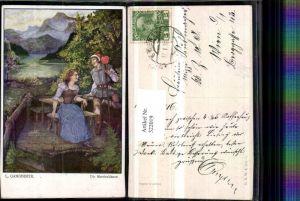 322019,Künstler AK T. Welzl Martinsklause Frau Tracht Mann Stock Bergkulisse pub B.K.W.I. 252/5