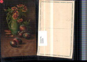 322029,Künstler AK C. Von Sivers Stillleben Zwetschke Pflaume Vase Blumen pub Wenau-Pastell 693