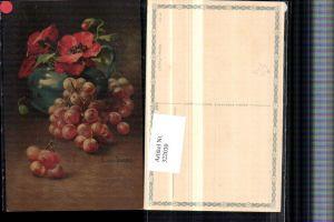 322030,Künstler AK C. Von Sivers Stillleben Trauben Mohnblume Vase pub Wenau-Pastell 691