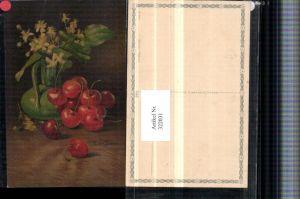 322031,Künstler AK C. Von Sivers Stillleben Kirschen Blumen Vase pub Wenau-Pastell 692