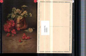 322033,Künstler AK C. Von Sivers Stillleben Ribisel Blumen Vase pub Wenau-Pastell 690