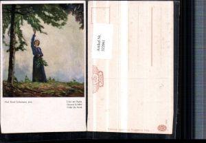 322061,Künstler AK Ernst Liebermann Unter der Buche Frau m. Kleid Baum Zweige
