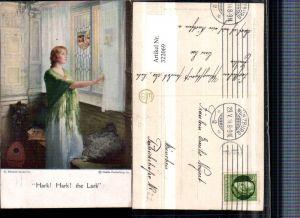 322069,Künstler AK Hark Hark the Lark Frau m. Kleid Tuch Fenster Mandoline