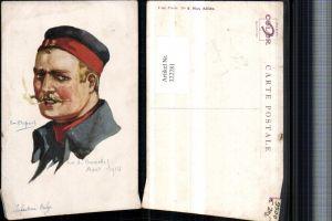 322281,Künstler AK Em. Dupuis Fort de Boncelles 1914 Infanterie Belge Mann m Mütze Zigarette Portrait