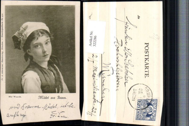 322286,Künstler AK Mizi Wunsch Mädel aus Bozen Mädchen Kopftuch Portrait pub A. Ackermann 452